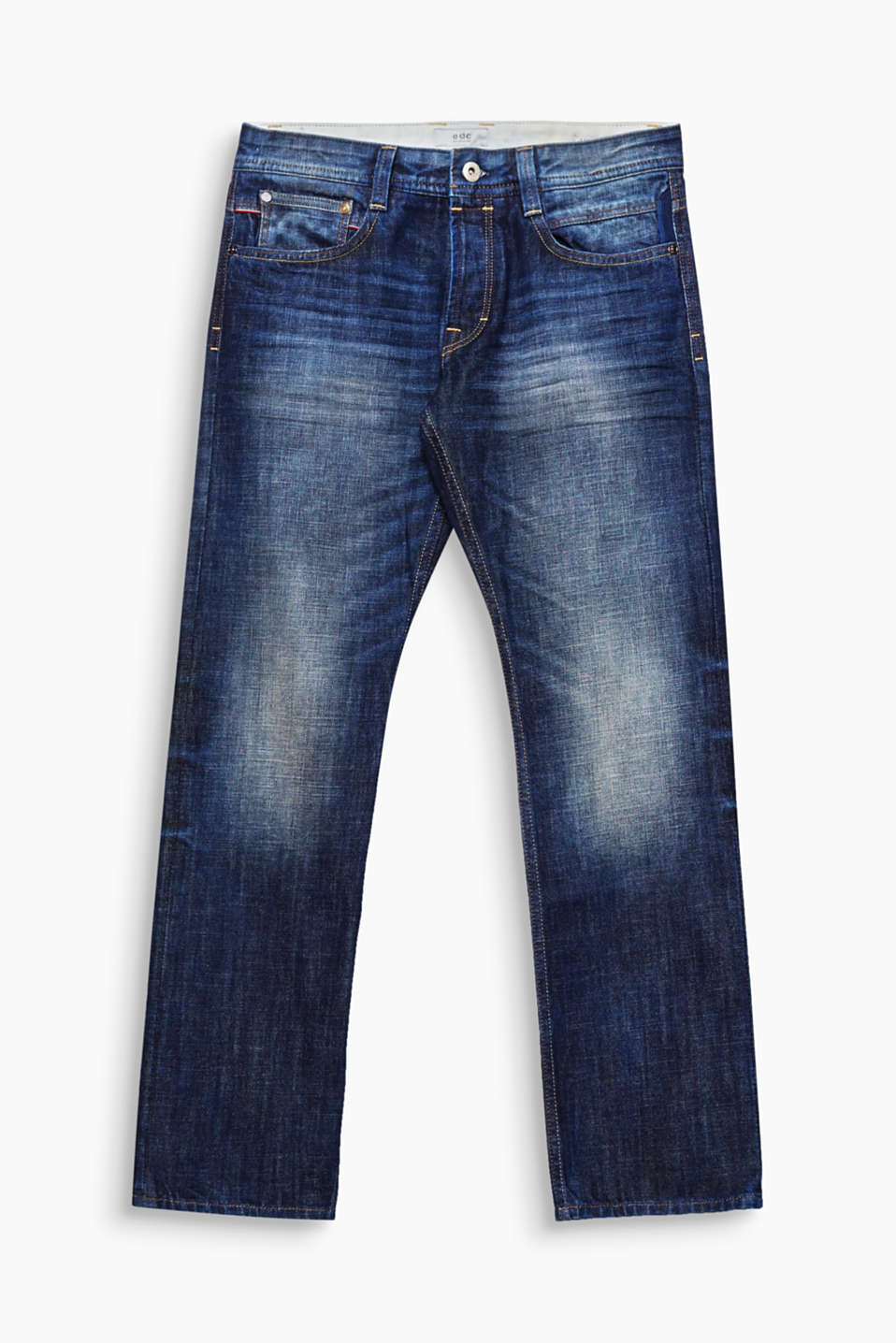 We love denim! This model comes in a vintage wash and is made of eco-friendly, high-quality organic cotton.