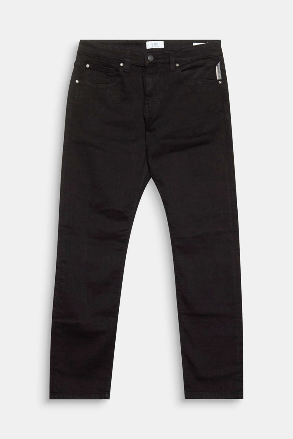 These comfortable five-pocket jeans look casual, yet smart thanks to the deep black colour.