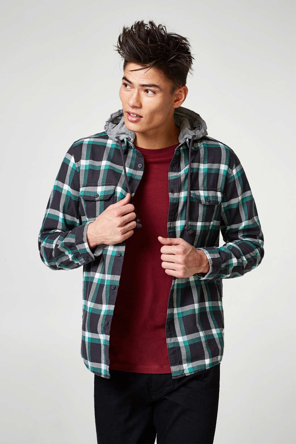edc - Check shirt with an adjustable hood