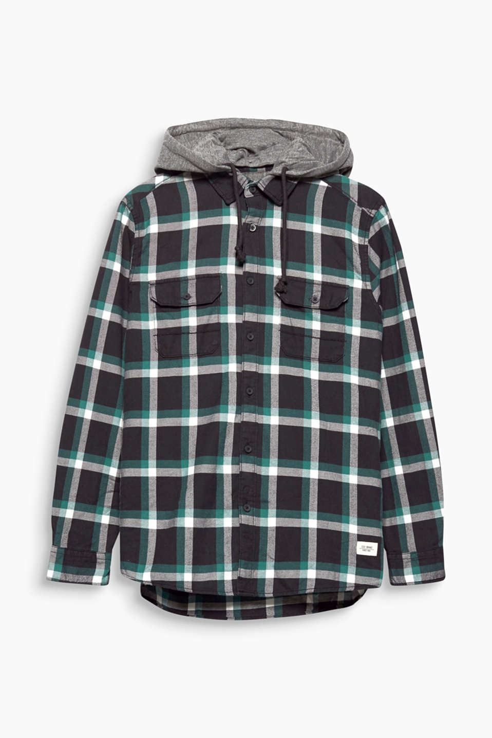 We love layered looks! This checked shirt is the perfect example thanks to the adjustable hood made of sweatshirt fabric.