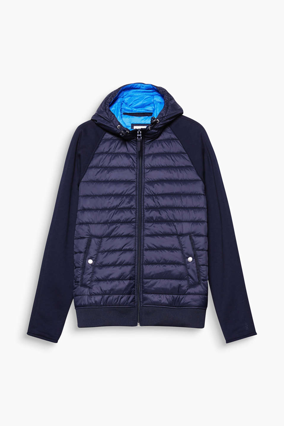 Trendy combination of materials! The attached neoprene sleeves make this quilted jacket an on-trend urban classic.