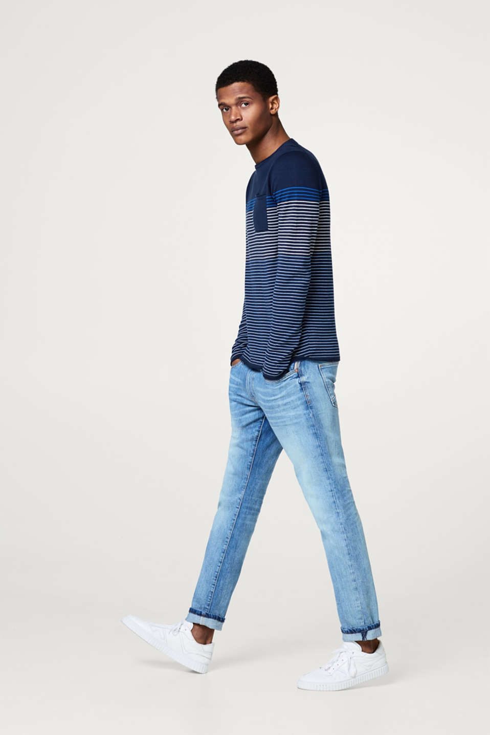 Jumper with stripes in cotton