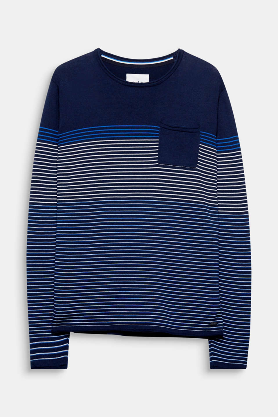 Fine stripes and casual rolled edges give this fine knit jumper its cool, sporty look.