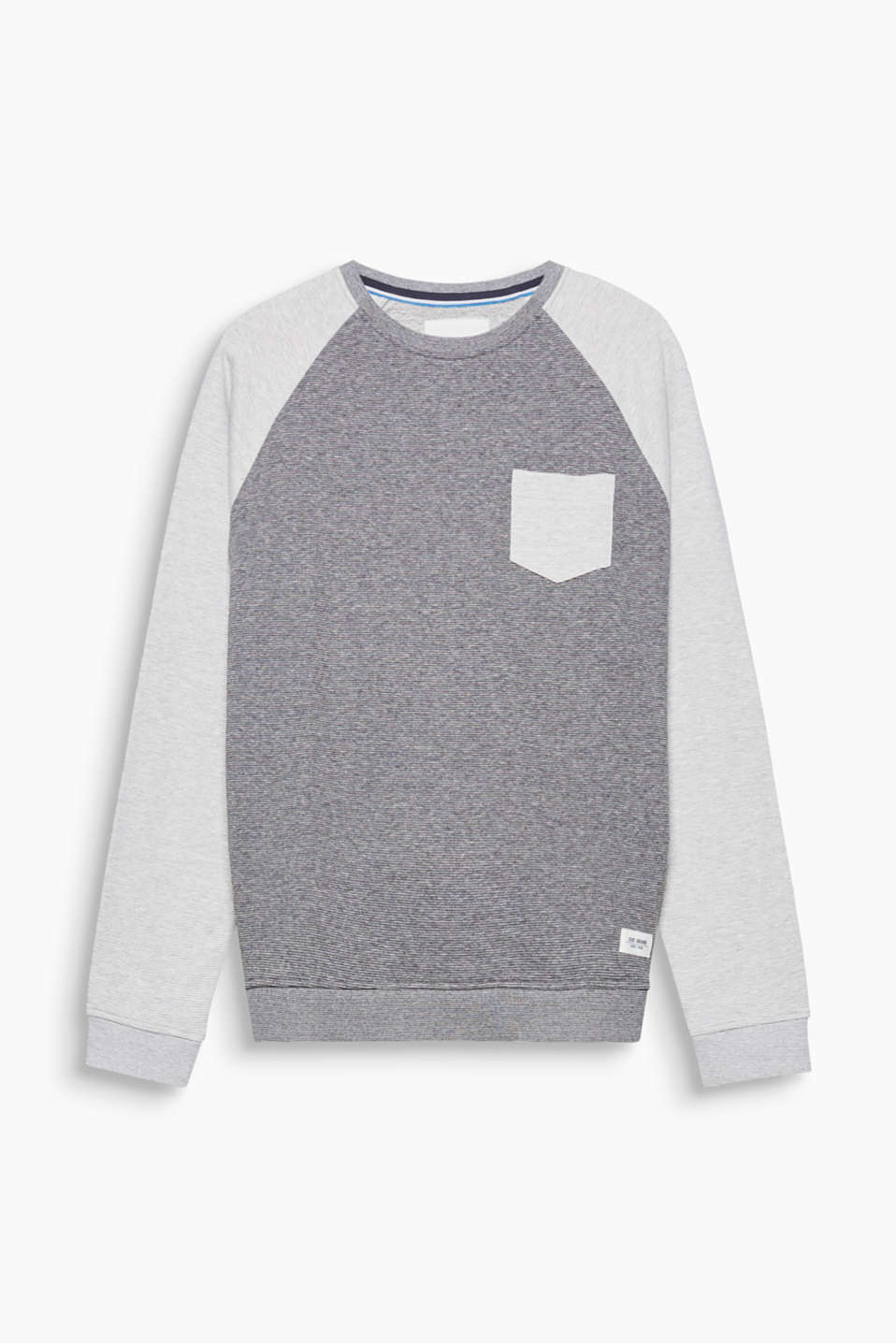 Raglan sleeves in a contrasting colour and fine melange stripes give this sweatshirt a cool, casual look.