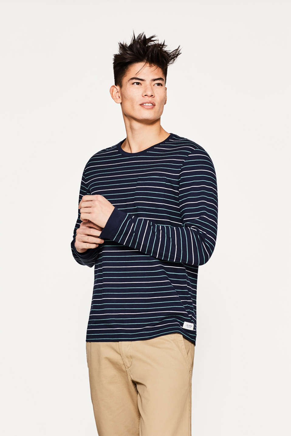 edc - Piqué long sleeve top in striped look