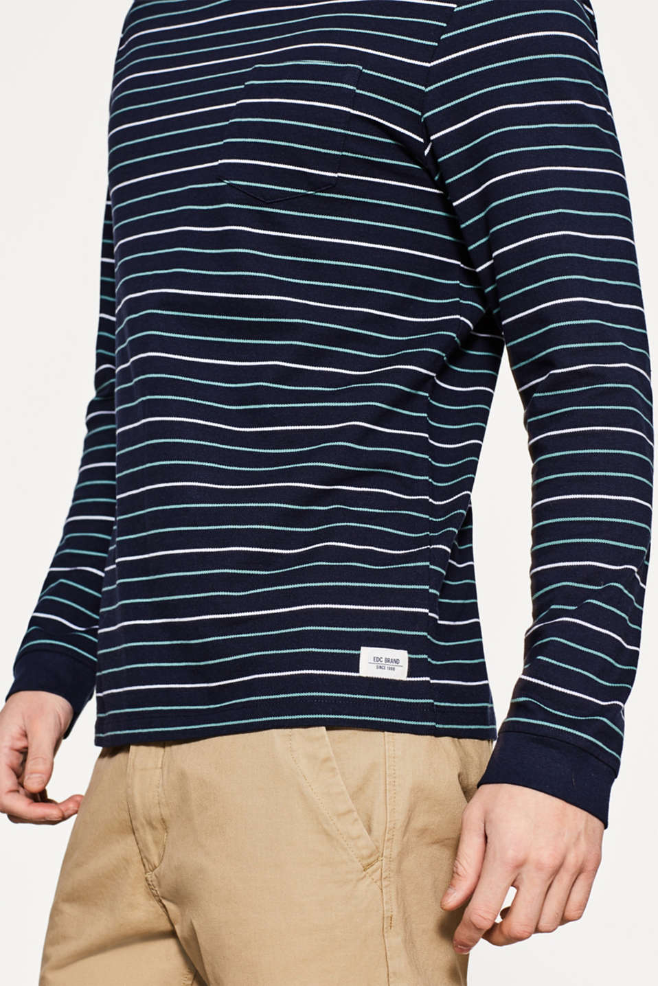 Piqué long sleeve top in striped look