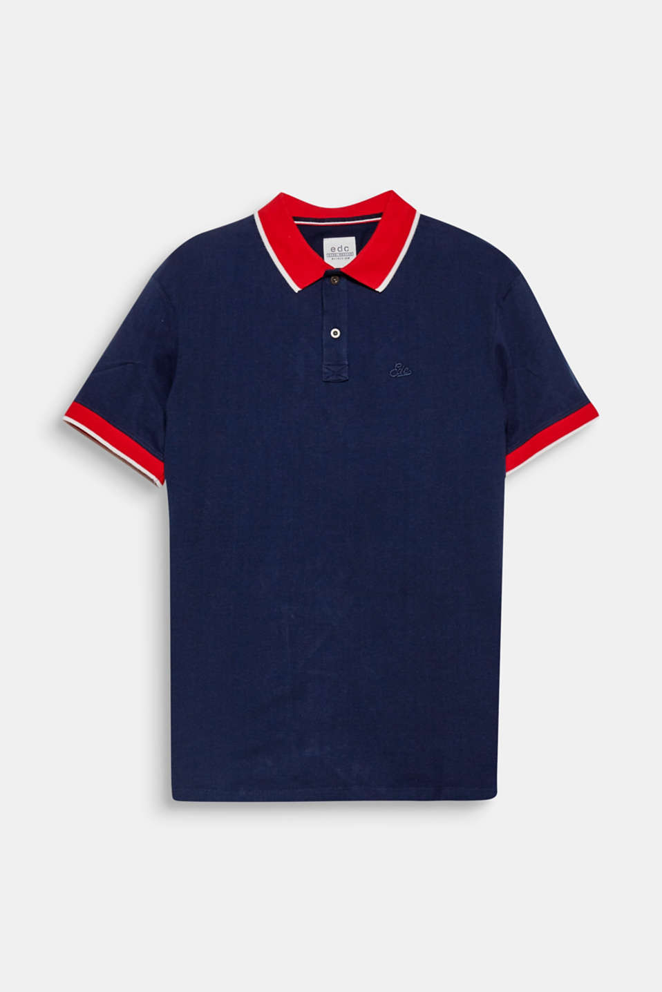 This jersey polo shirt with a contrasting colour collar is a must-have for a simple, sporty look.