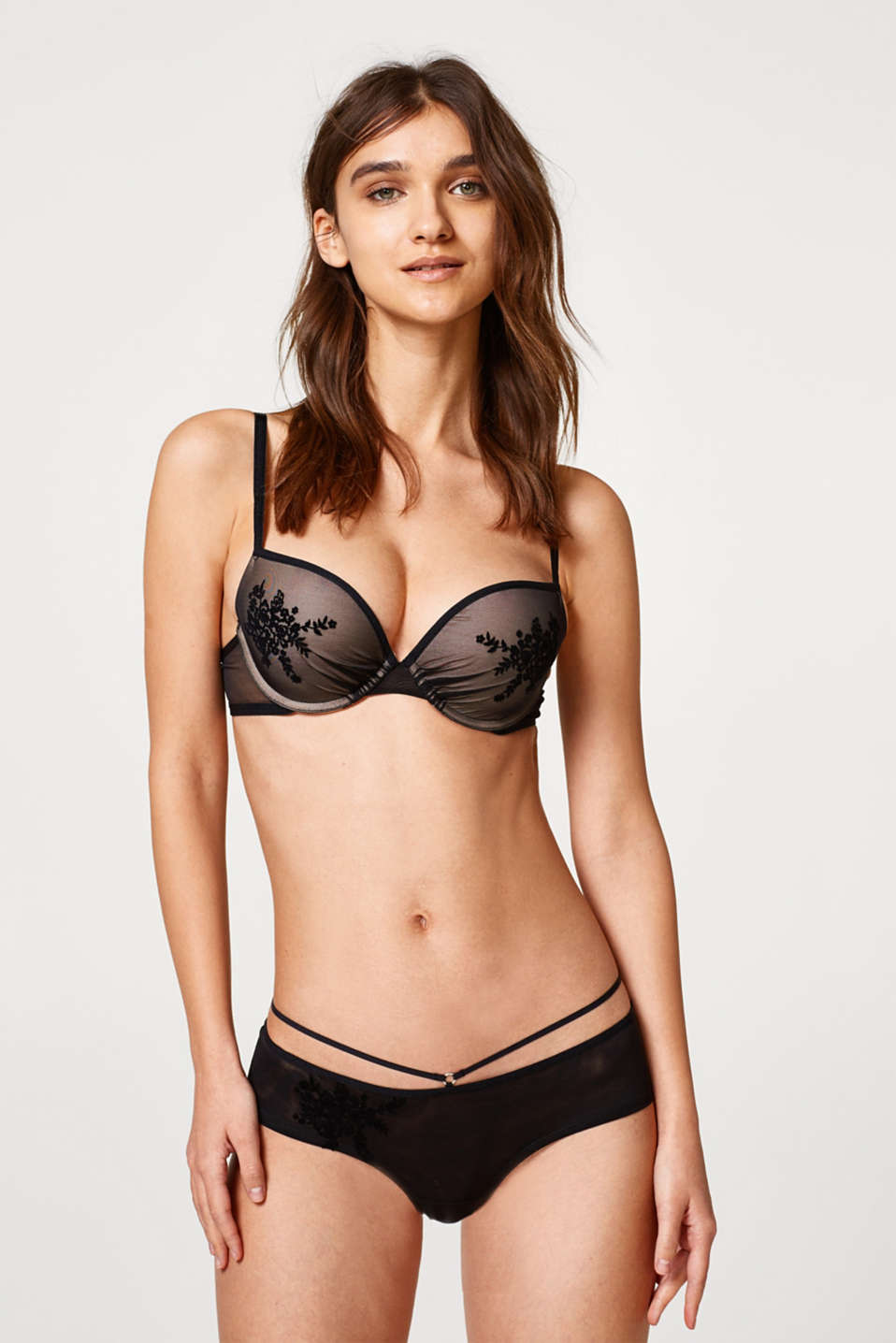 edc - Push-up bra in tulle with a flock print