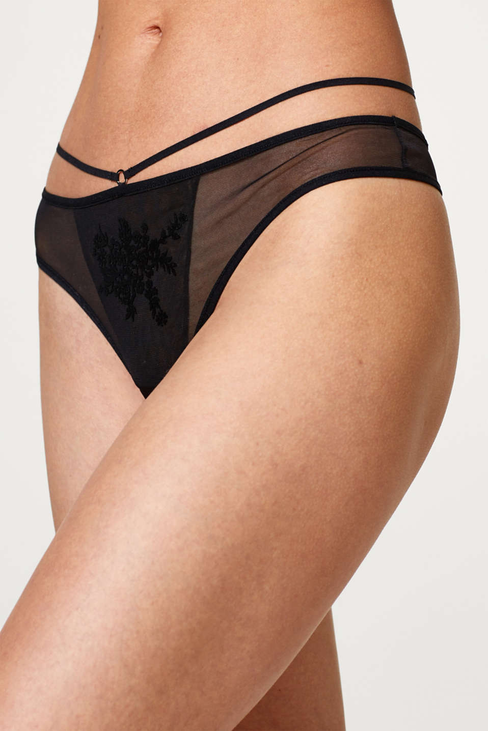 Hipster thong in tulle with flock print