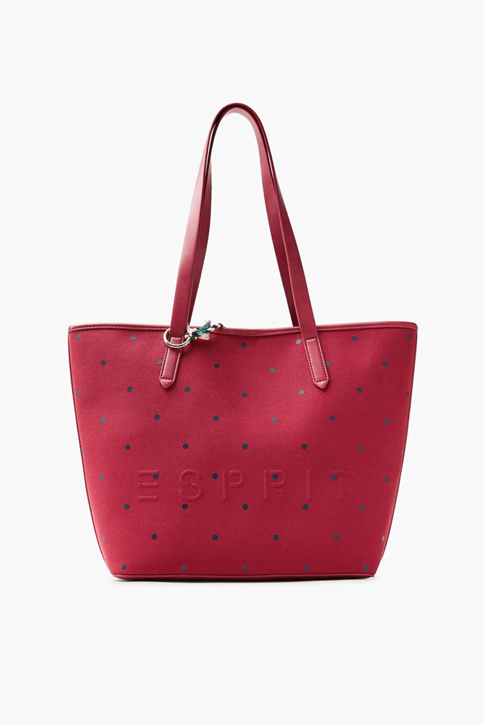 Esprit - Canvas shopper with logo and polka dots