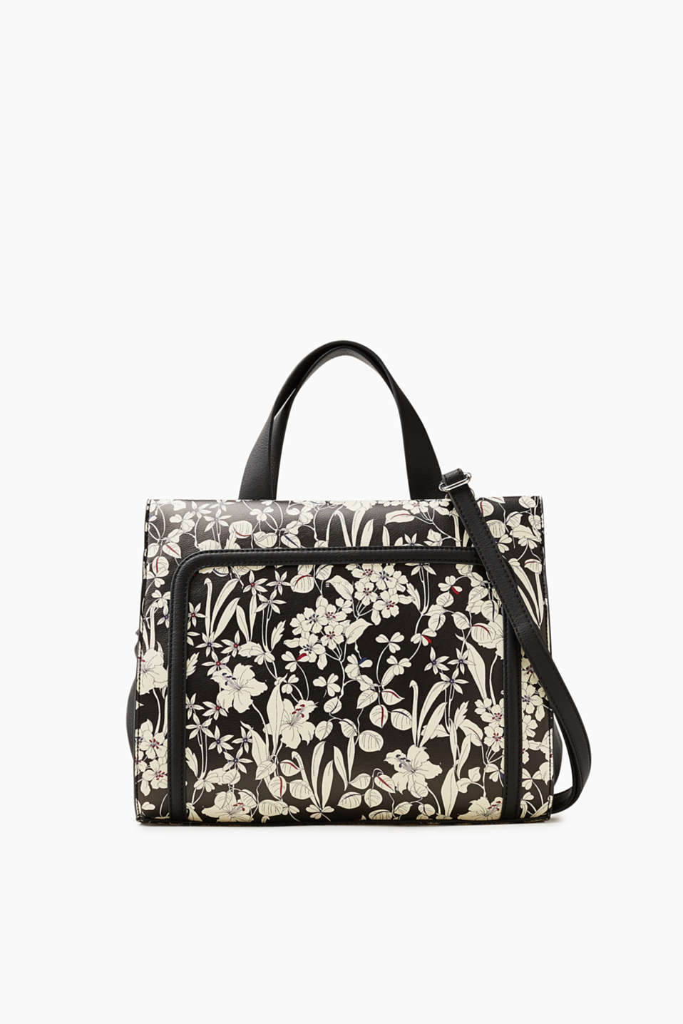 Esprit - Faux leather, floral print city bag