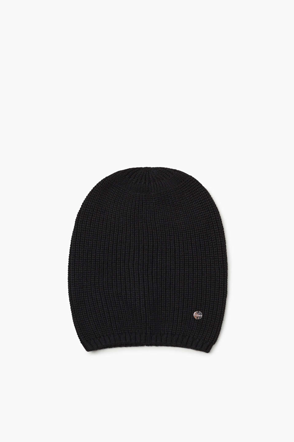 Esprit - Rib knit beanie containing cashmere