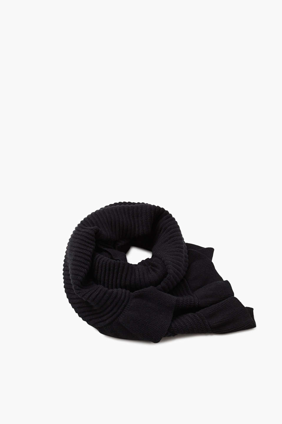 Esprit - Ribbed scarf with frill details