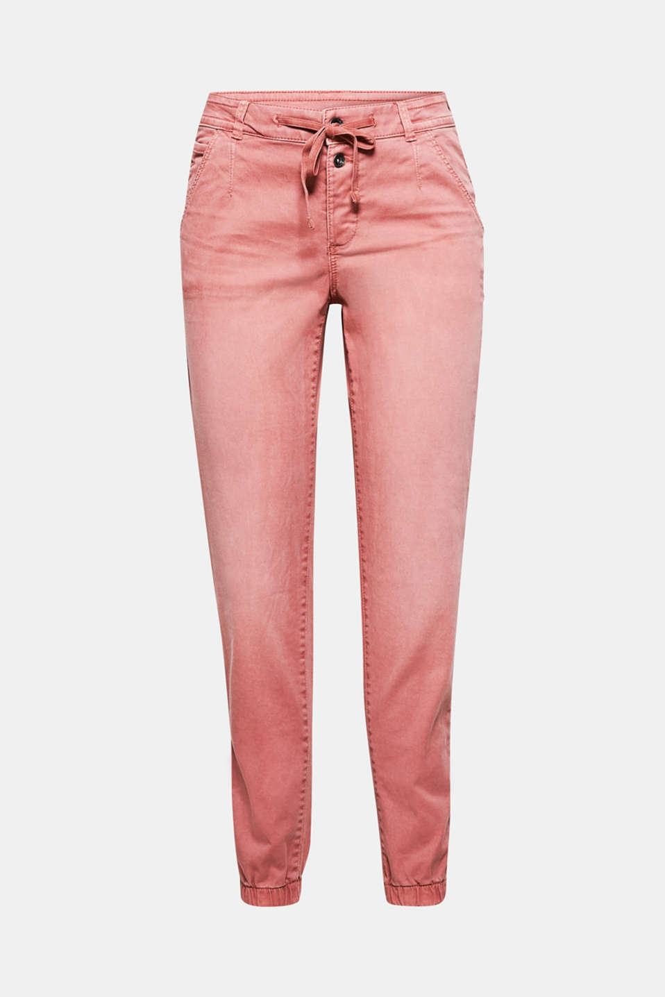 The drawstring waistband with a button placket and the elasticated leg cuffs make these trousers so wonderfully casual!