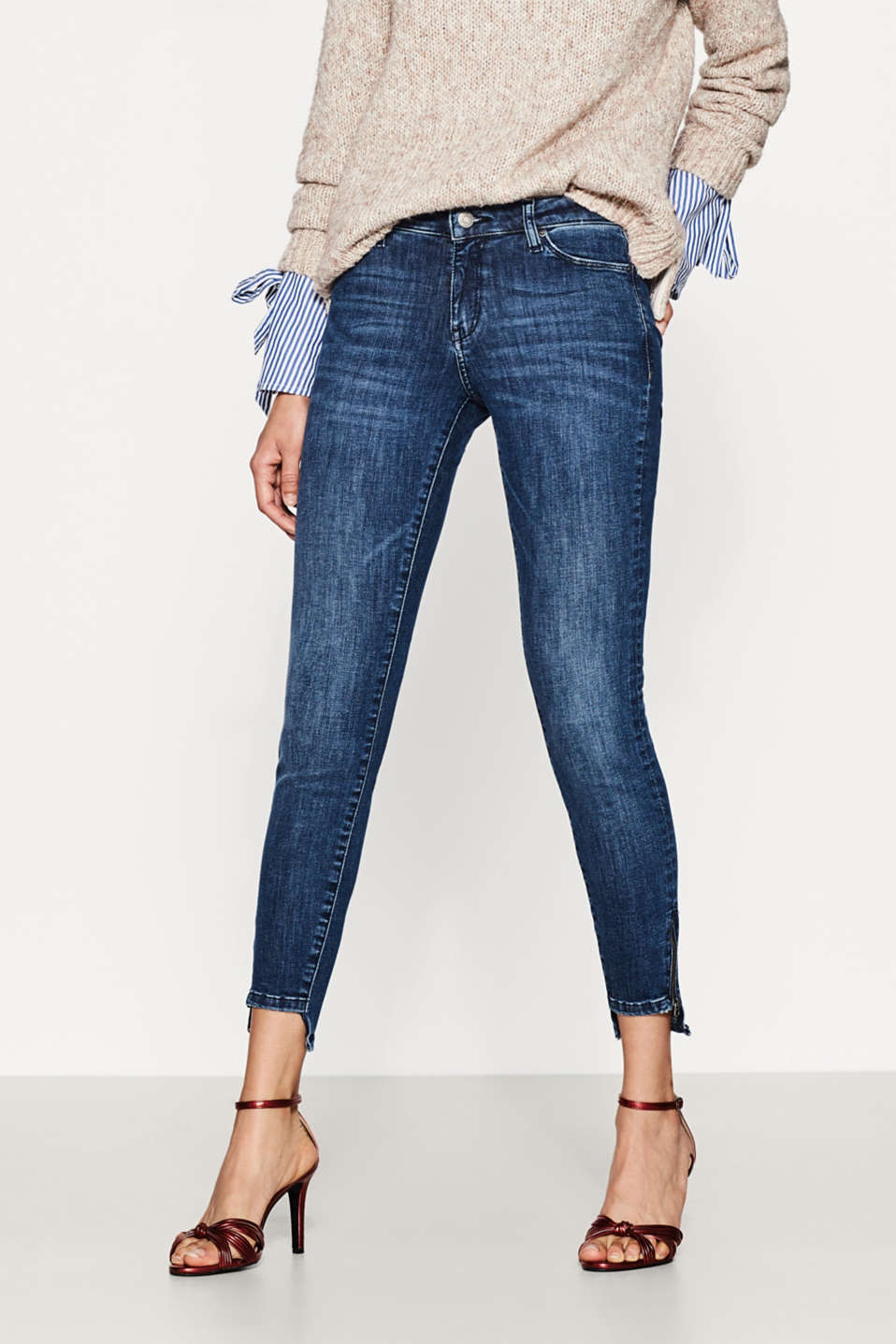 Esprit - Stretch-Jeans mit High-Low-Saum