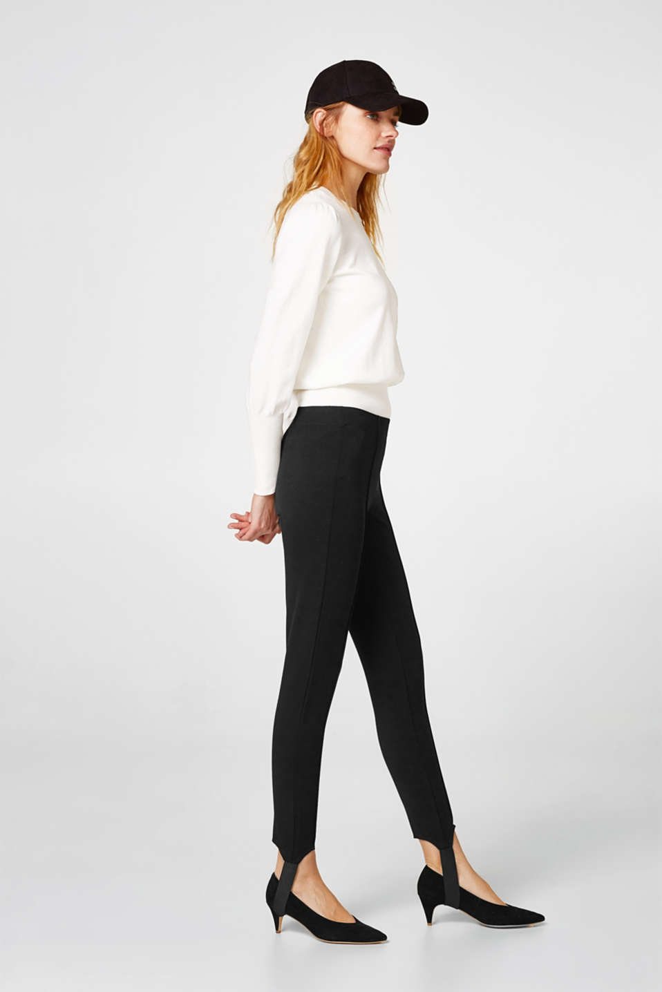Esprit - Leggings with bands and waist pleats