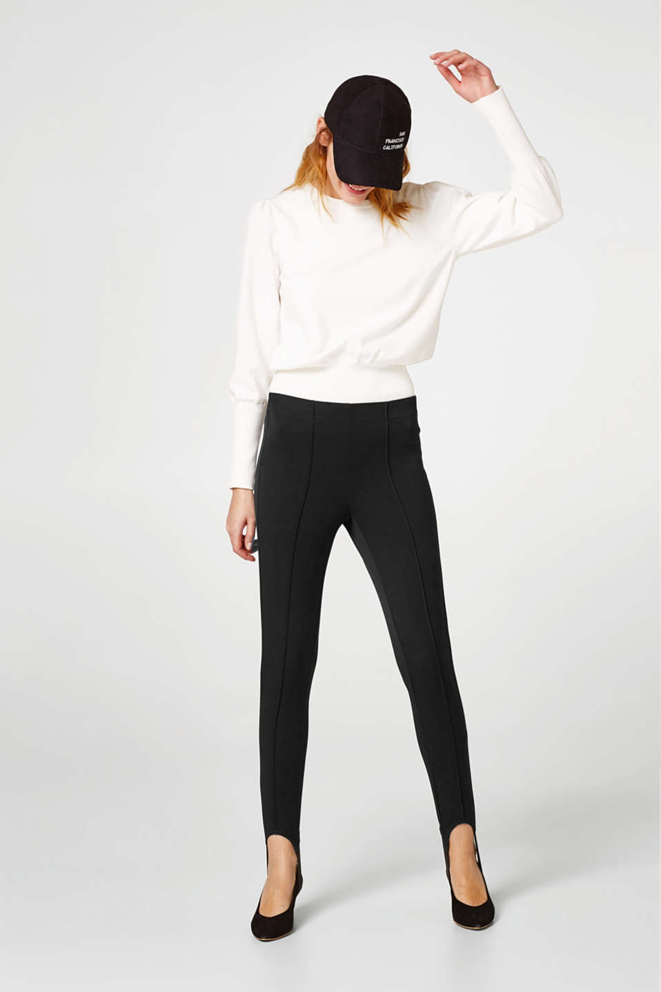 Leggings with bands and waist pleats