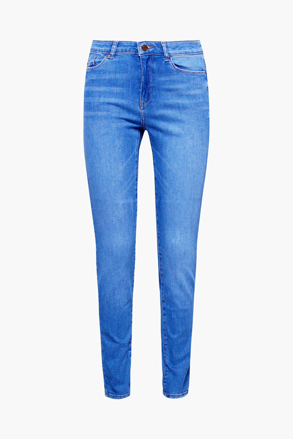 The high-waist cut, super stretch fabric and luminous wash of these jeans will accentuate your silhouette!
