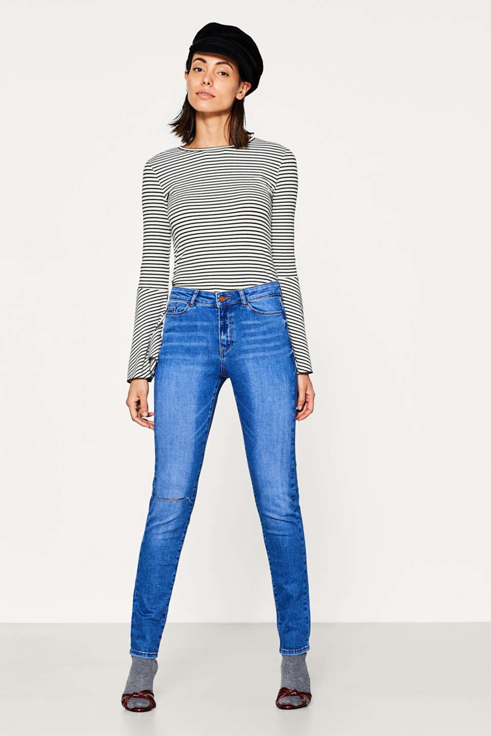 Esprit - Used-Look-Jeans aus Super-Stretch