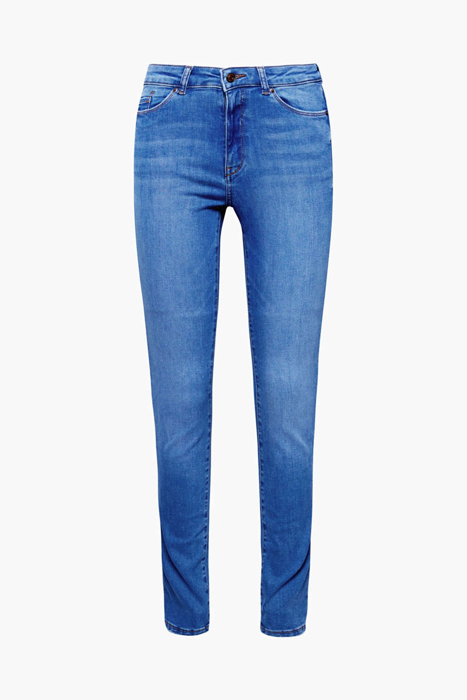 Cool and sexy: these comfortable high-waisted jeans in a clear blue tone gets a special kick from the cut at the knee!