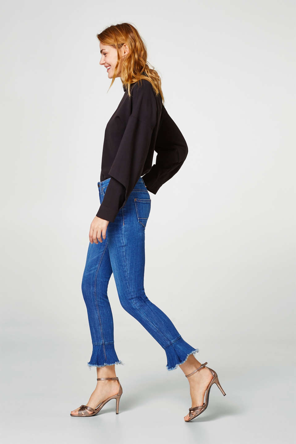 Esprit - Stretch jeans with trumpet sleeves