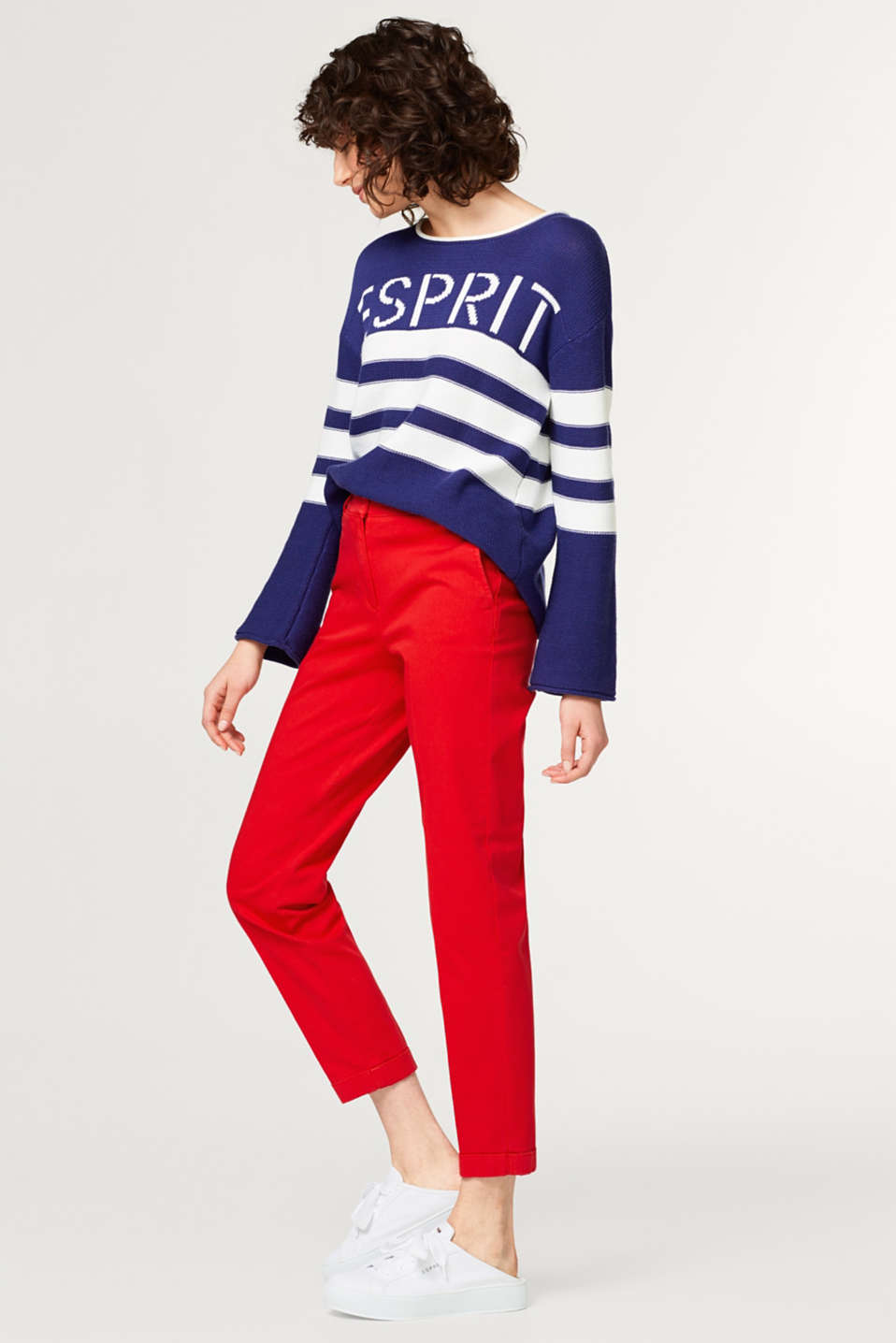 Esprit - Cropped trousers in cotton/stretch