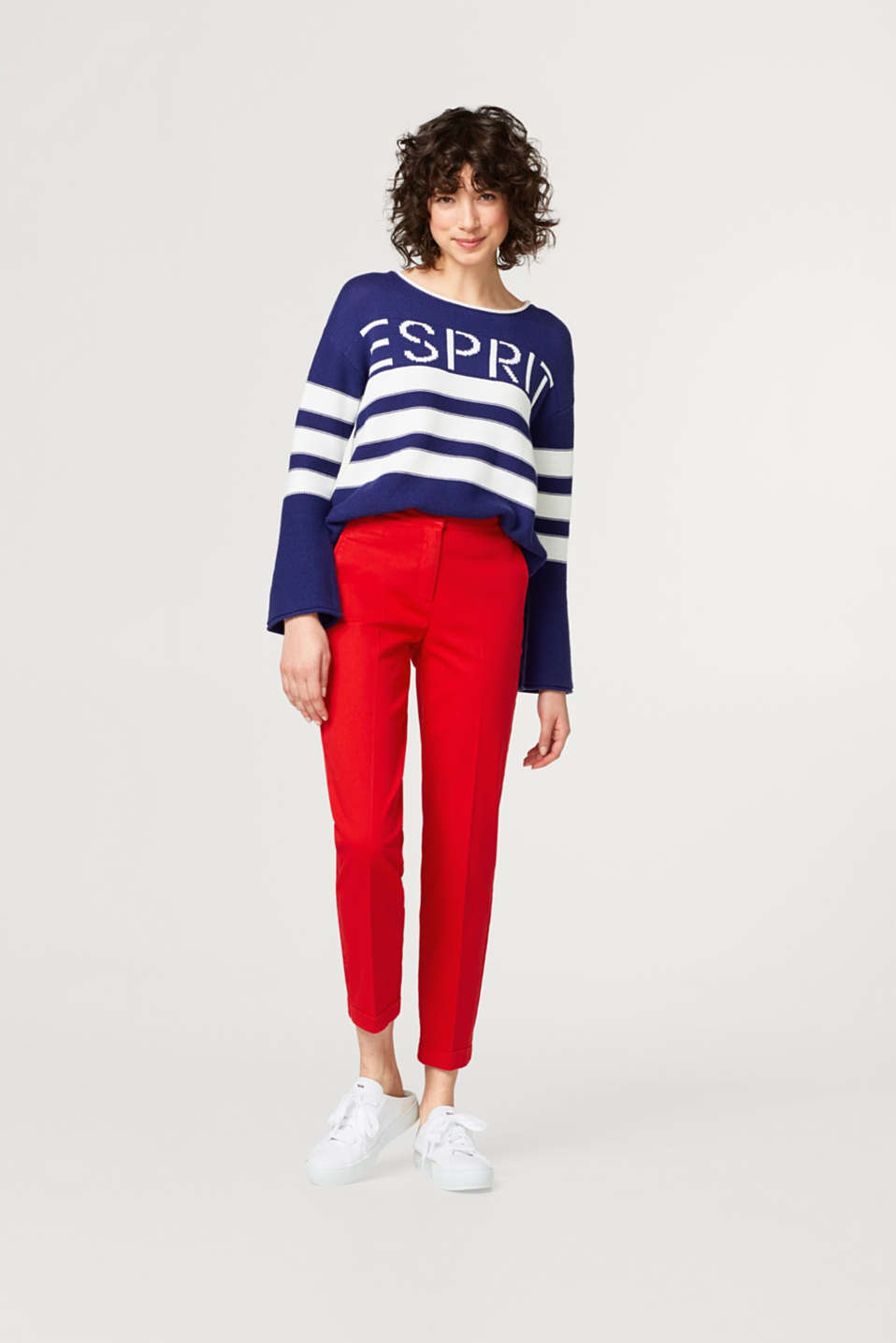 Cropped trousers in cotton/stretch