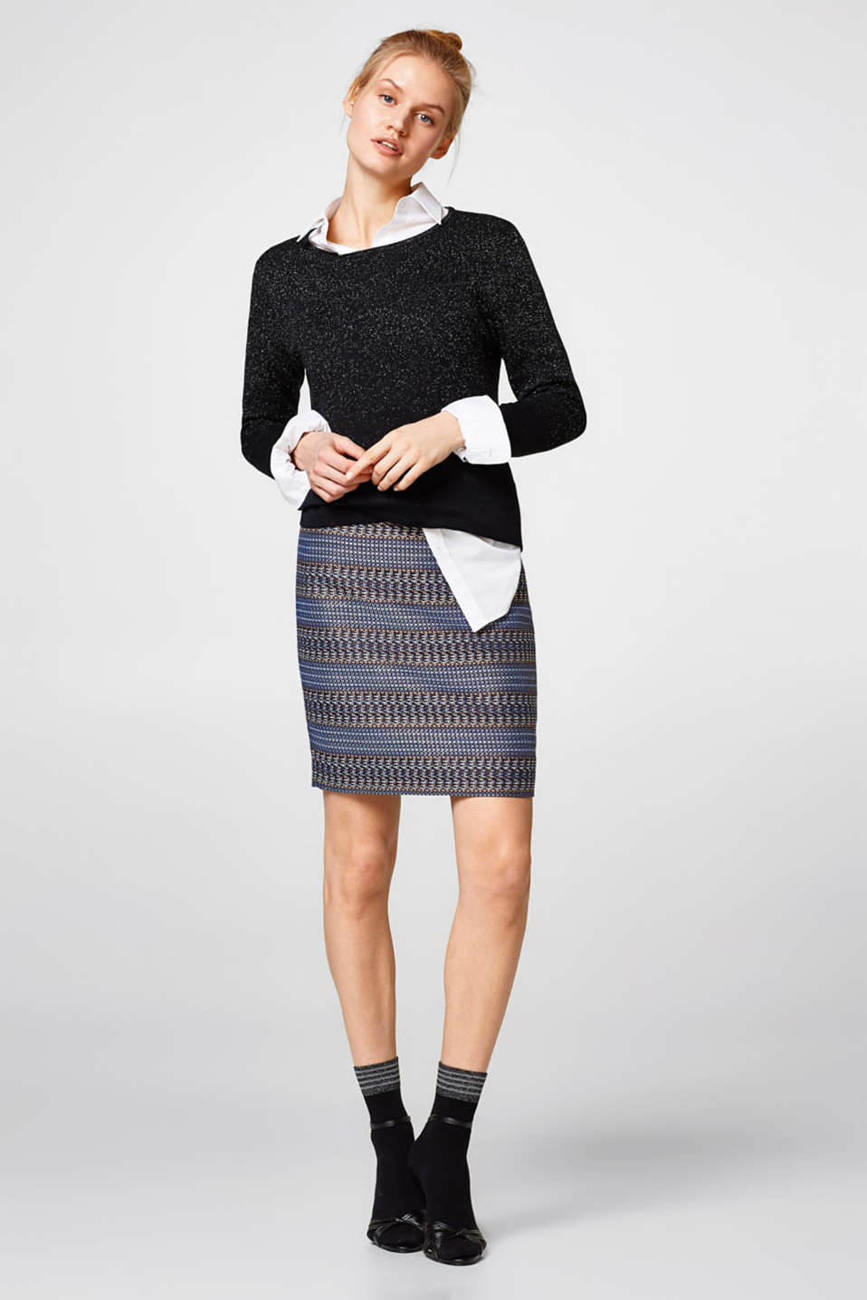 Glittering jacquard mini skirt