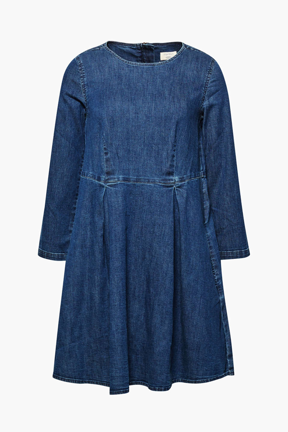 We love denim! This dress features a flared skirt and is crafted from authentic denim.