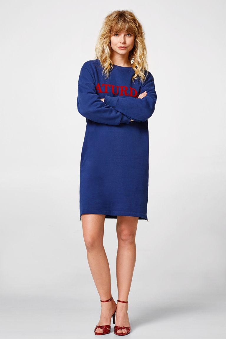 Sweat-Kleid mit Print,100% Baumwolle