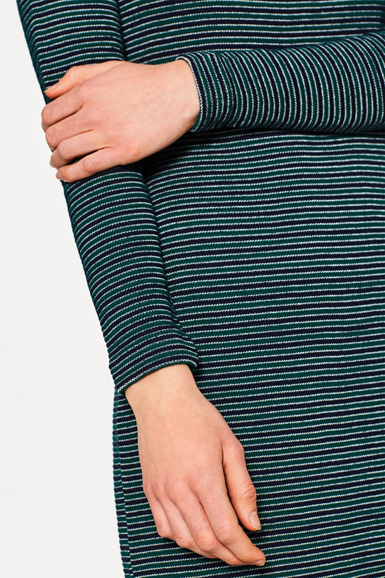 Geripptes Jersey-Kleid, 100% Baumwolle