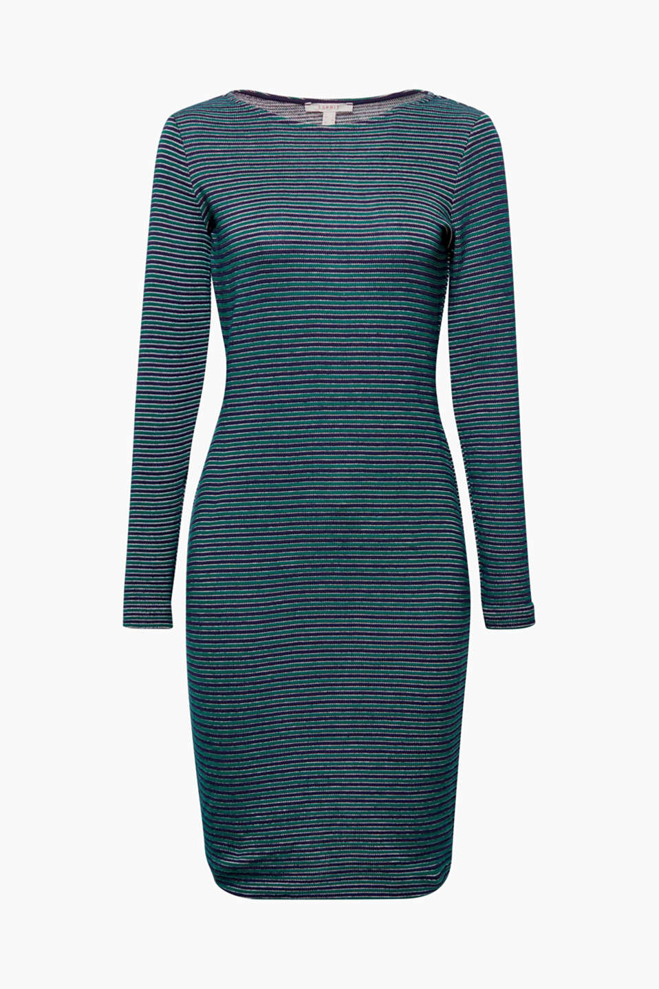 This dress in dense cotton jersey with a ribbed texture combines a feminine silhouette with sporty stripes!