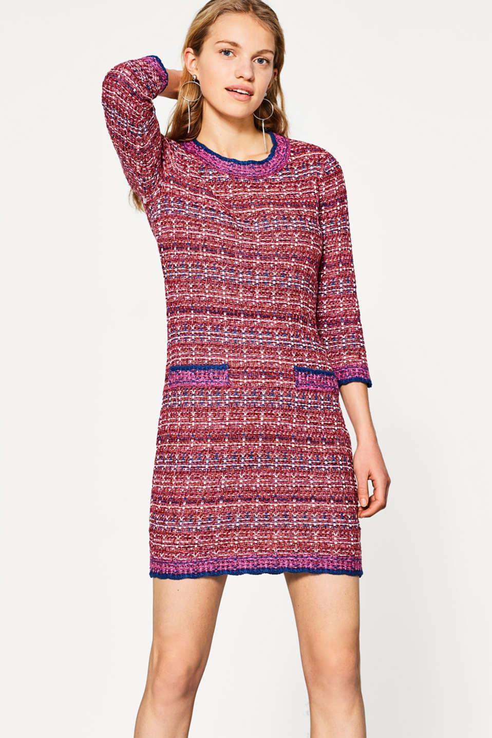 Esprit - Knitted dress in a tweed look, cotton blend