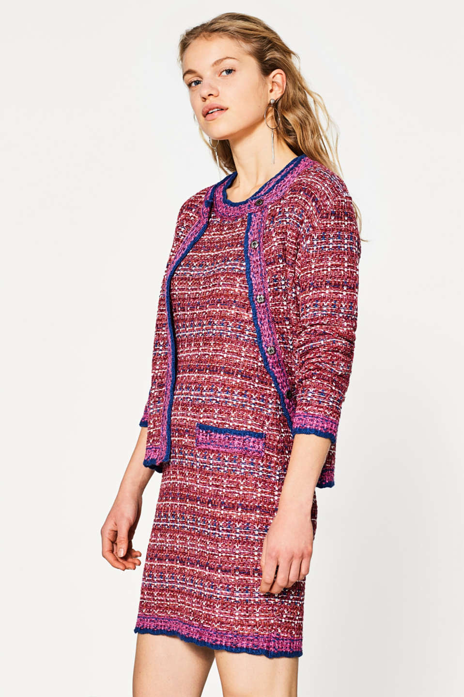 Knitted dress in a tweed look, cotton blend