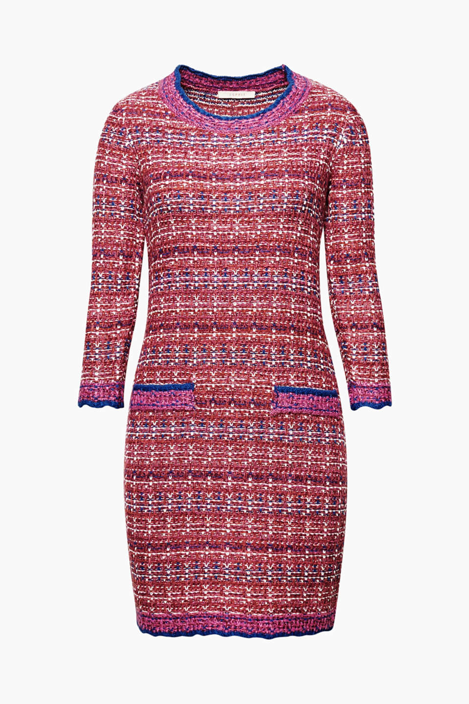 A French flair and tweed-like texture make this knitted dress with three-quarter length sleeves so stylish!