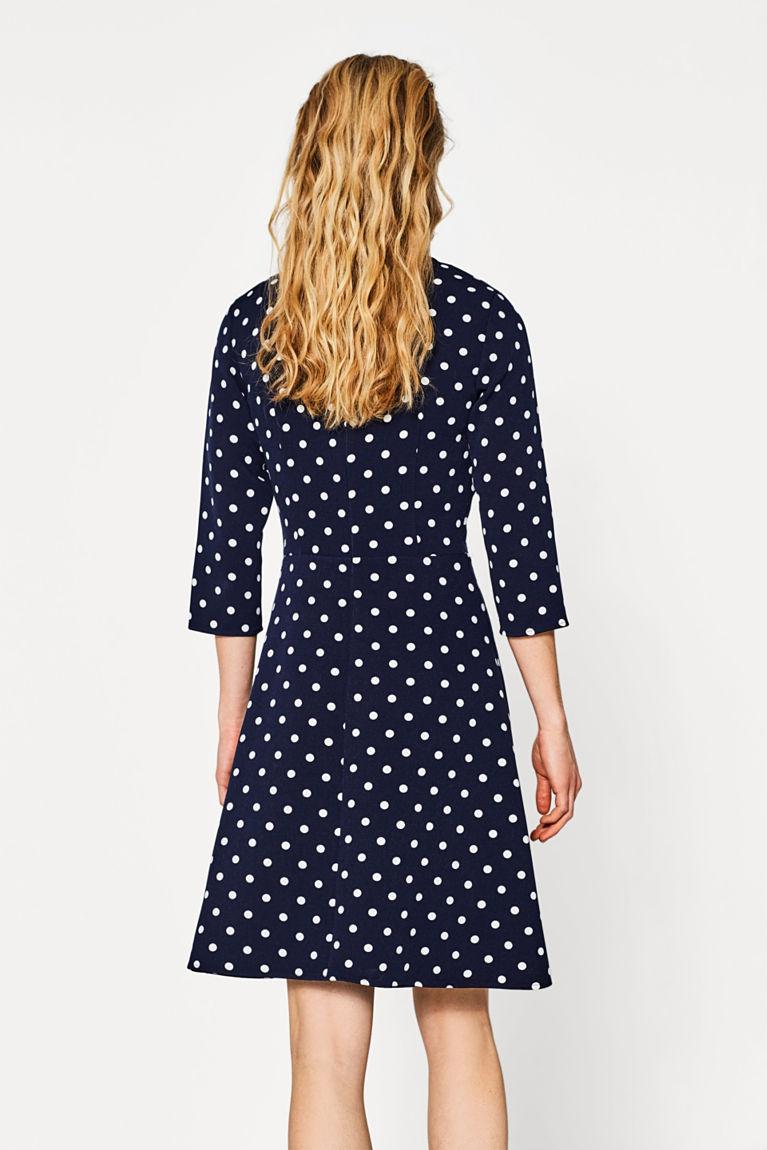 Jersey-Stretch-Kleid mit Polka-Tupfen
