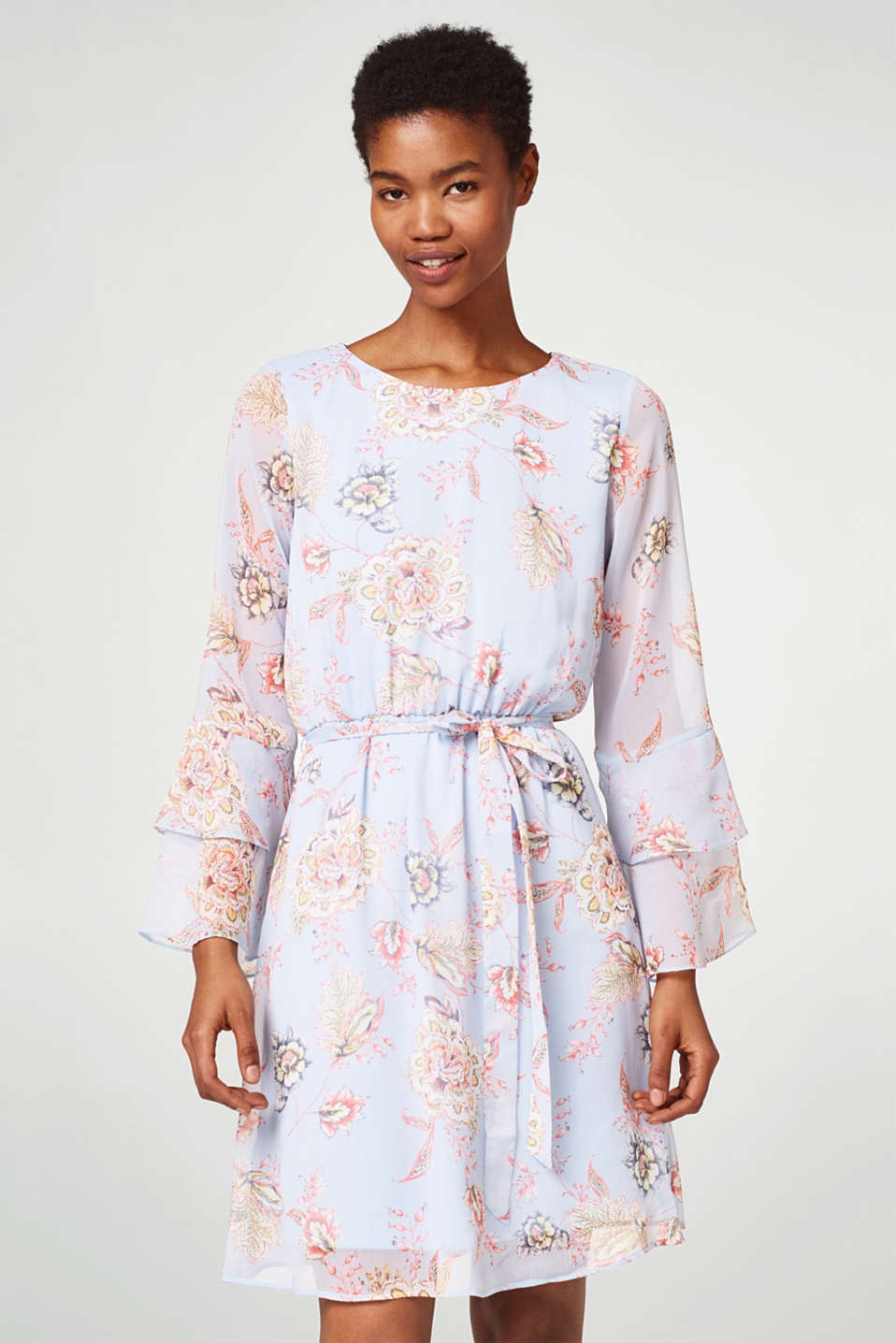 Esprit - Flowery dress in delicate crinkle chiffon