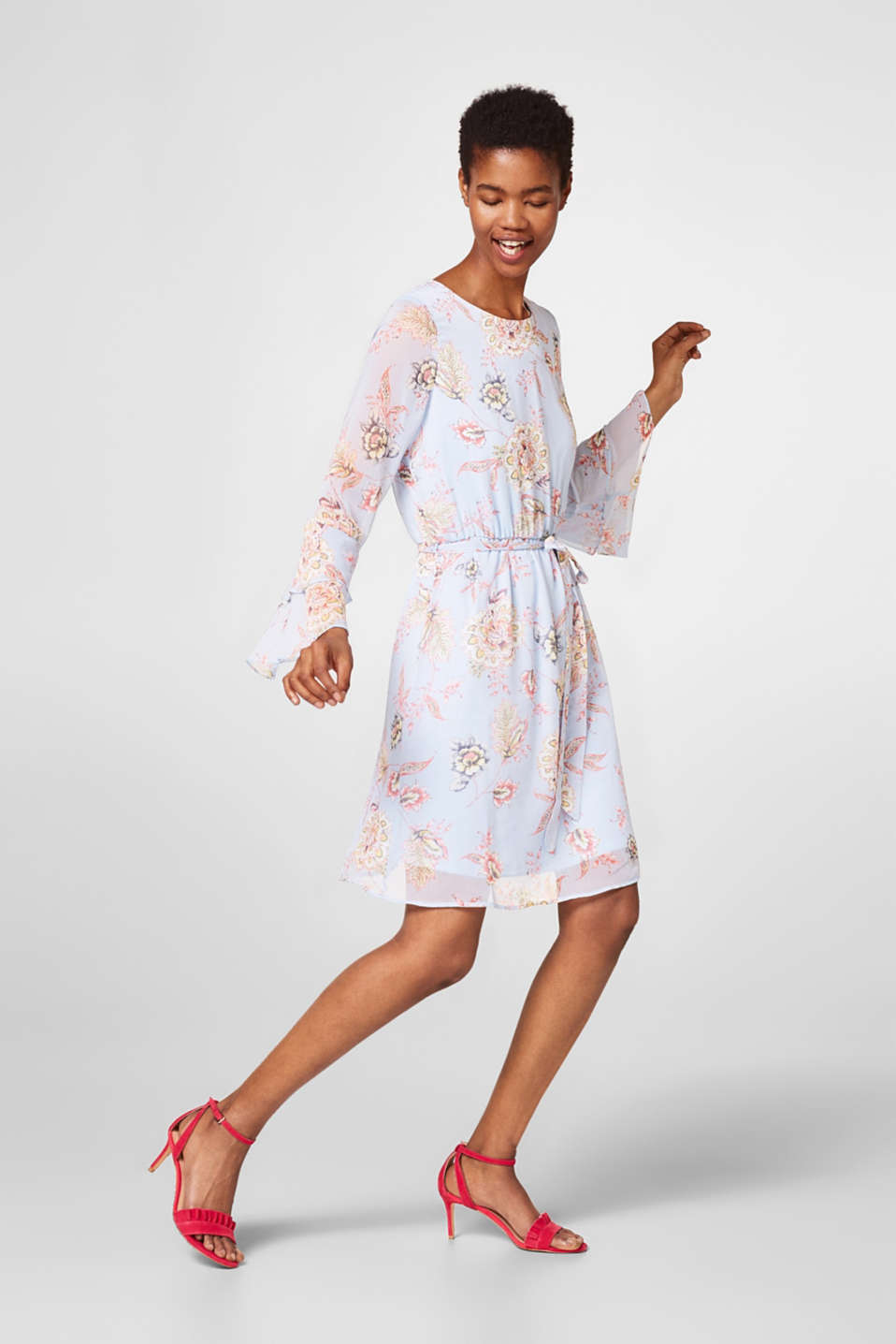 Flowery dress in delicate crinkle chiffon