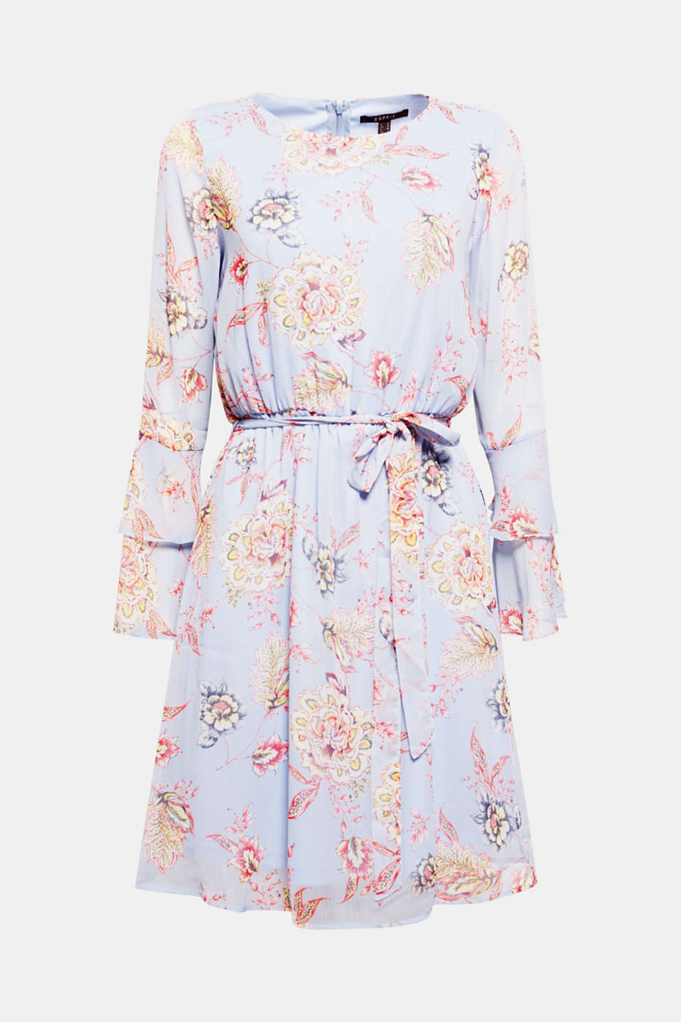 This flowery chiffon dress with a decorative floral print and flounce sleeves creates an enchanting look!