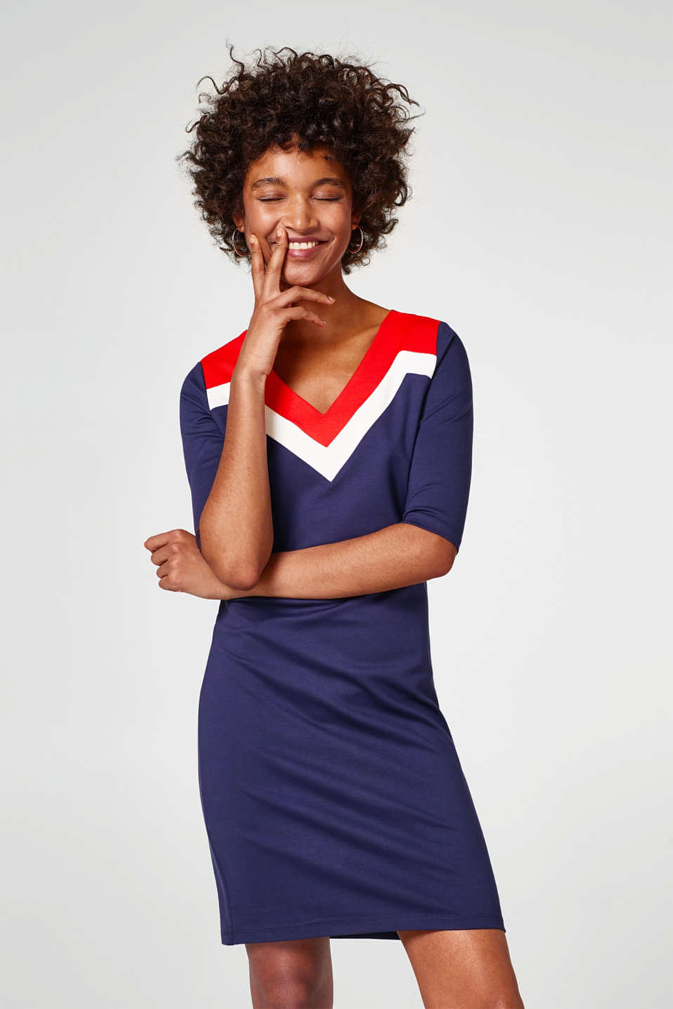 Esprit - Jurk van heavy jersey met colour blocking