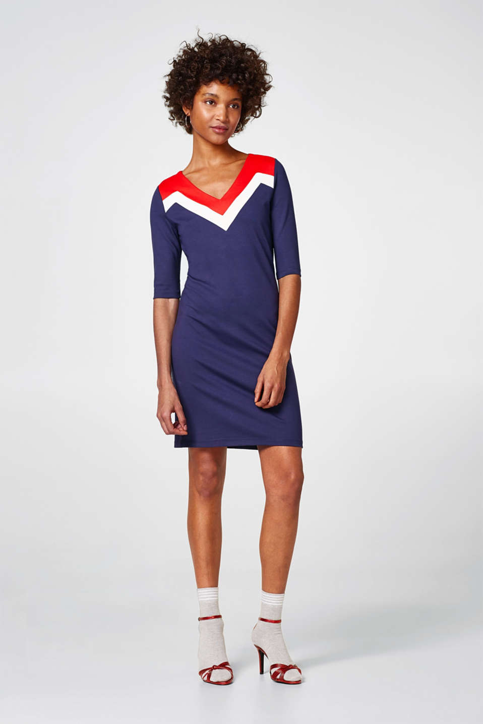 Jurk van heavy jersey met colour blocking