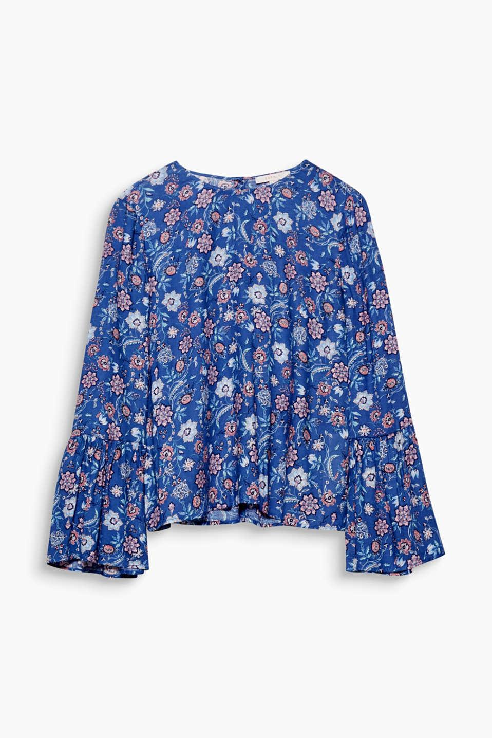 esprit seidige bluse mit blumen print im online shop kaufen. Black Bedroom Furniture Sets. Home Design Ideas