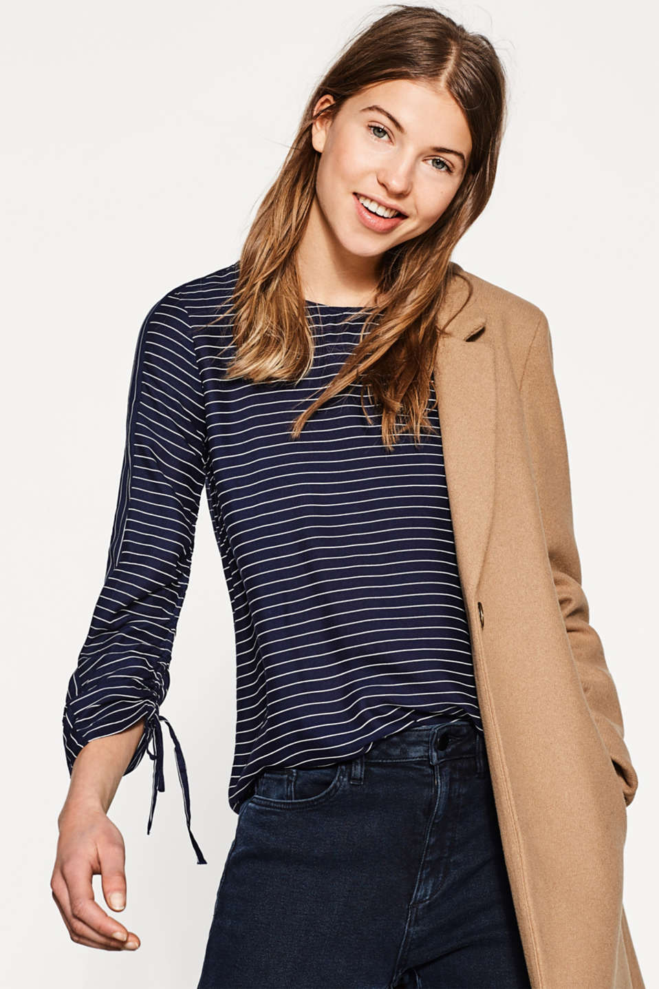 Delicate striped blouse with gathers