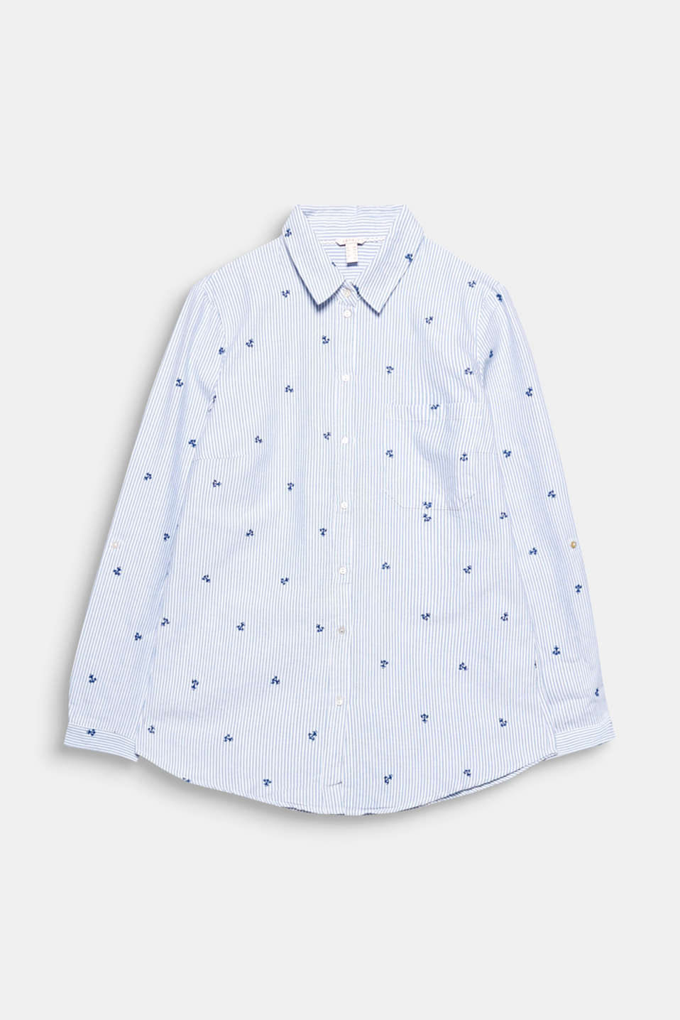 Fine stripes and an all-over appliquéd anchor motif give this cotton shirt blouse its nautical charm!