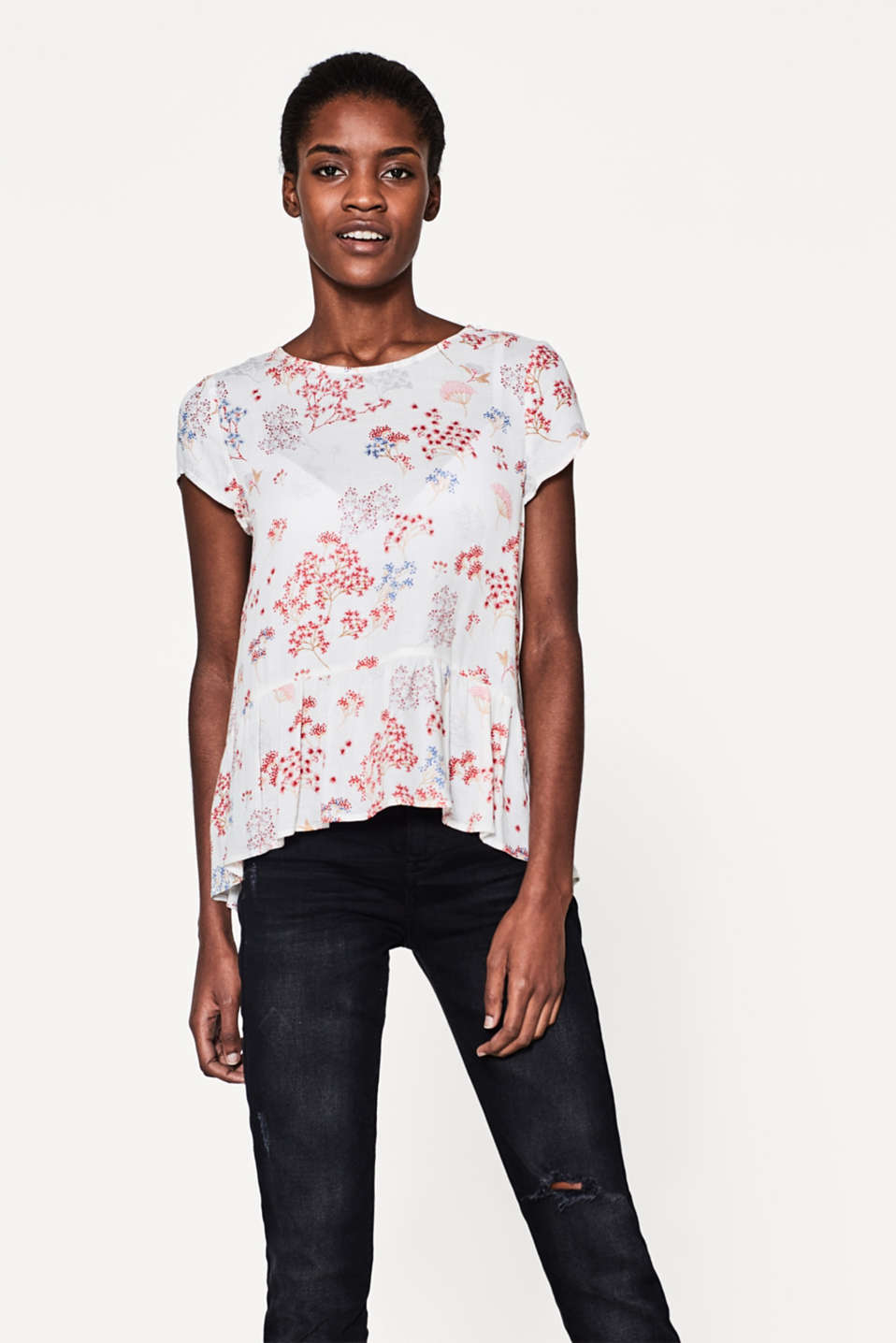 Esprit - Delicate print blouse with a wide peplum