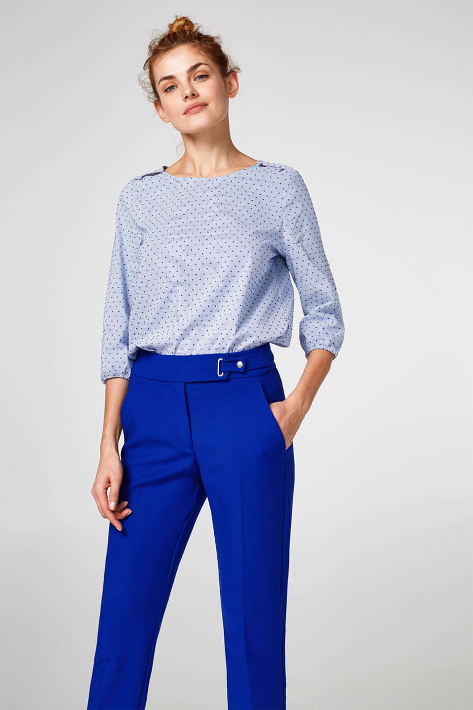 Esprit - Woven blouse with a velvety polka dot print