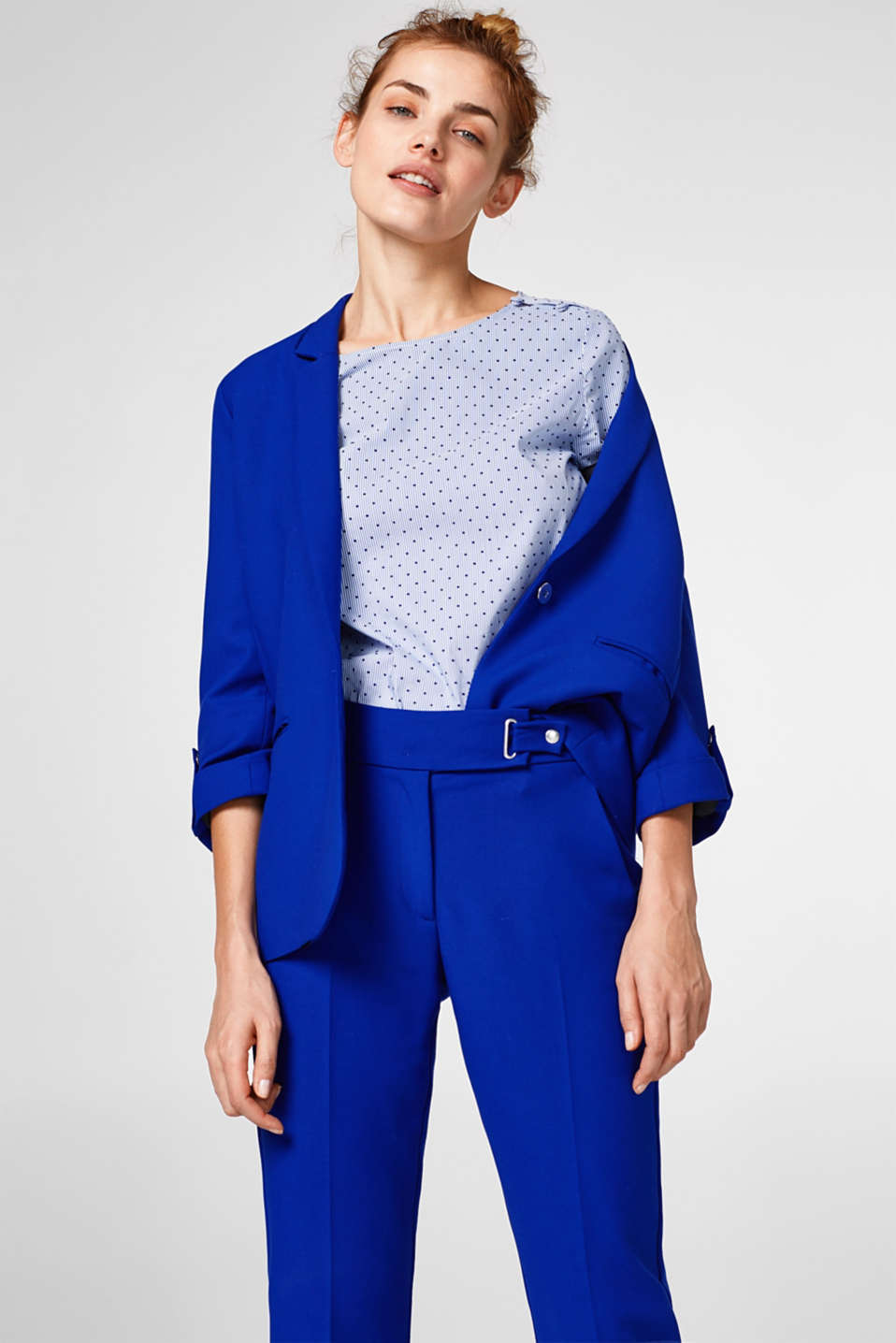 Woven blouse with a velvety polka dot print