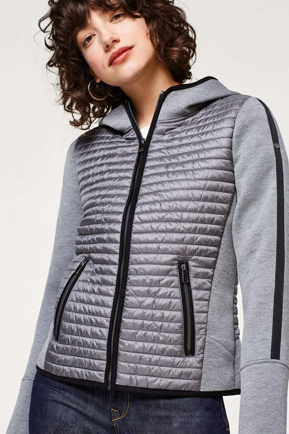 Esprit - Jacket in firm jersey with quilting