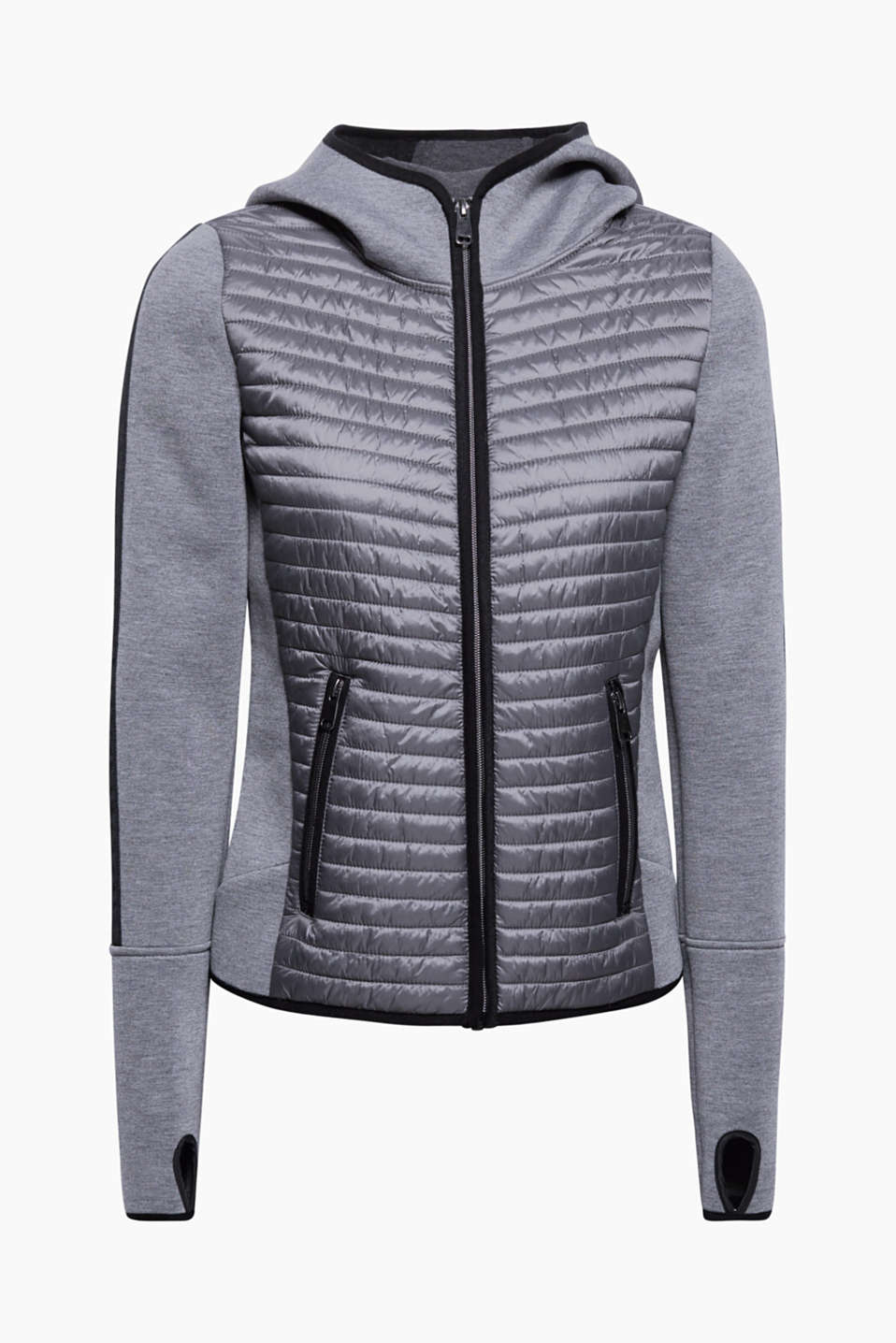 This hooded jacket in firm jersey with a quilted front and back is perfect for between the seasons!