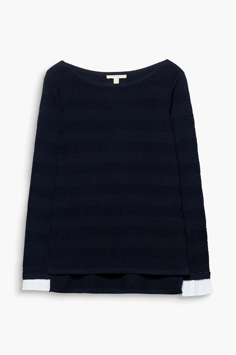 This casual cotton jumper features stripes, coloured or textured, and pleated cloth cuffs!